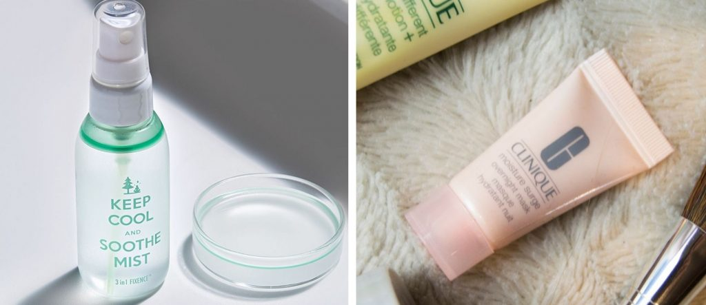 Keep cool soothe Mist and clinique Moisture Surge Overnight Mask